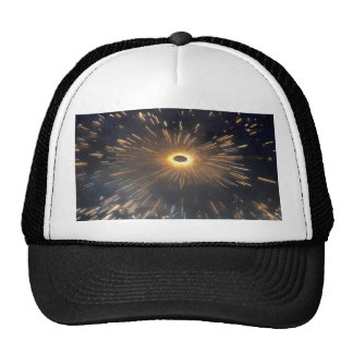Sparks coming from a spinning firecracker trucker hat