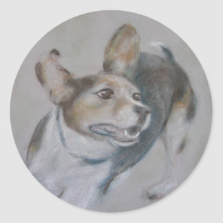 Sparky Dog:  Running Classic Round Sticker