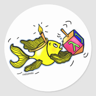 Sparky Hanuka Fish - Comic Cure Drawing Gift Round Stickers
