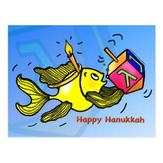 Sparky Hanukkah Fish - Comic Cute Drawing Postcard