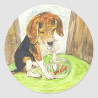 Sparky in the fishbowl classic round sticker