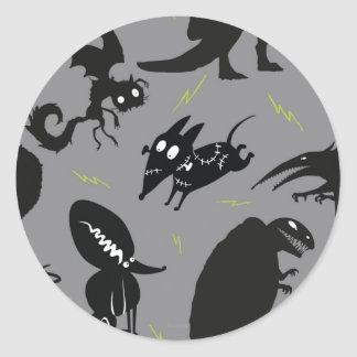 Sparky Running Silhouette Classic Round Sticker