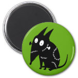 Sparky Sitting Silhouette 2 Inch Round Magnet