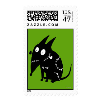 Sparky Sitting Silhouette Postage Stamp