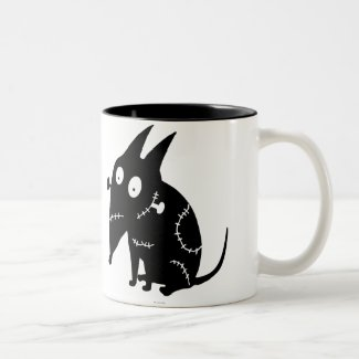Sparky Sitting Silhouette Ringer Coffee Mug