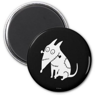 Sparky Sitting White 2 Inch Round Magnet