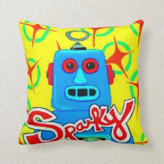 Sparky the Toy Robot Throw Pillow