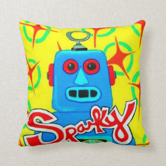 Sparky the Toy Robot Throw Pillow