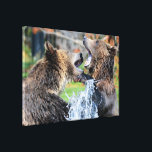 """Sparring Grizzly Bears Canvas Print<br><div class=""""desc"""">Action and beauty. Two young sparring grizzly bears playing in the water.</div>"""