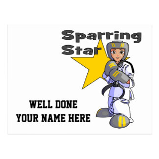 Sparring Star Taekwondo Black Belt Postcard