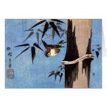 Sparrow and Bamboo, Ando Hiroshige Greeting Card