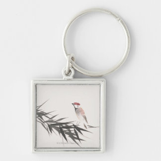 Sparrow and Bamboo Leaves Keychain