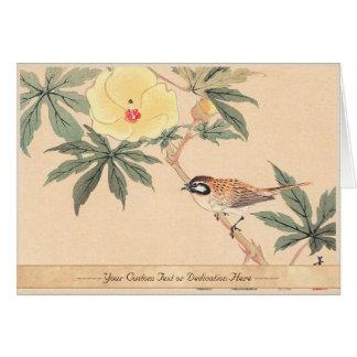 Sparrow and Hibiscus Keibun Matsumoto bird flowers Card