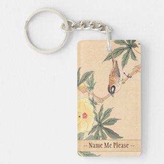 Sparrow and Hibiscus Keibun Matsumoto bird flowers Double-Sided Rectangular Acrylic Keychain