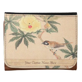 Sparrow and Hibiscus Keibun Matsumoto bird flowers Leather Trifold Wallet