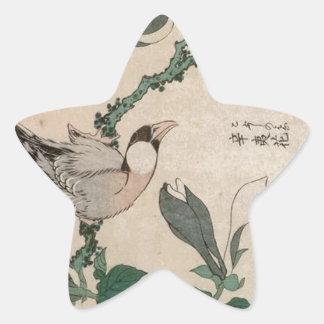 Sparrow and magnolia by Katsushika Hokusai Star Sticker