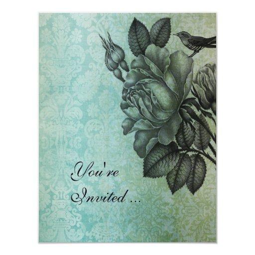 Sparrow and Rose Elegant Vintage Damask In Blue Card