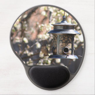 SPARROW AT FEEDER GEL MOUSE PAD