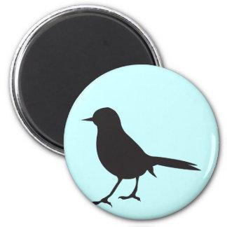 Sparrow bird black & white silhouette blue 2 inch round magnet