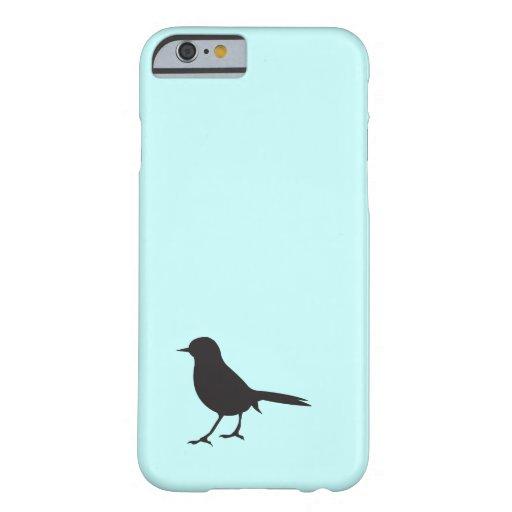 Sparrow bird black & white silhouette blue iPhone 6 case