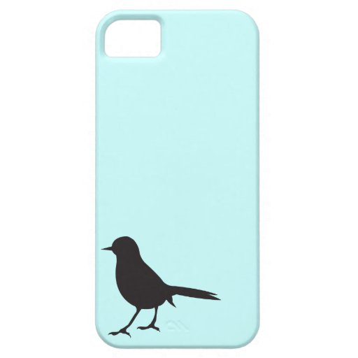 Sparrow bird black & white silhouette blue iPhone 5 covers