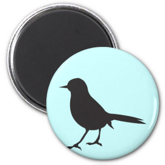 Sparrow bird black & white silhouette blue magnet