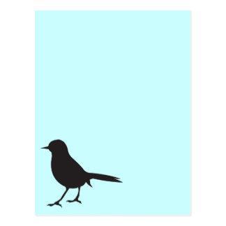 Sparrow bird black & white silhouette blue postcard