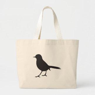 Sparrow bird black & white silhouette tote bag