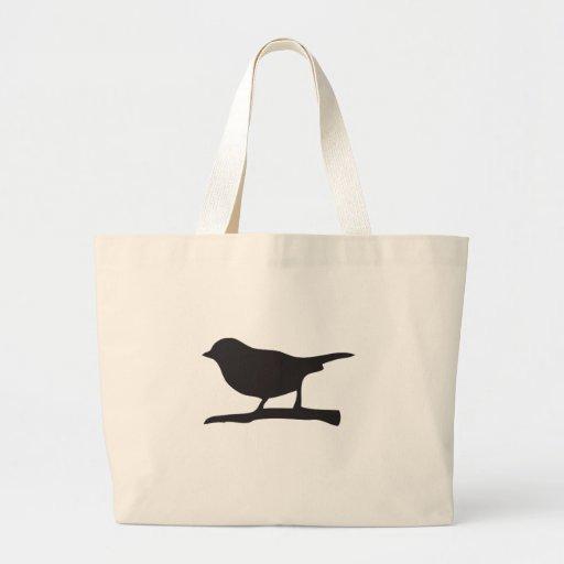 Sparrow bird &  branch black & white silhouette tote bags