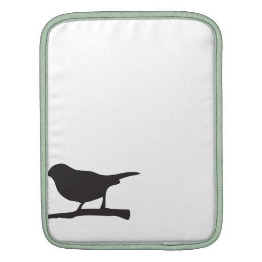 Sparrow bird branch black & white silhouette iPad sleeves