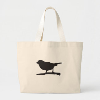 Sparrow bird &  branch black & white silhouette large tote bag