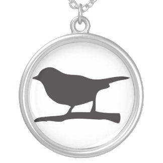 Sparrow bird & branch silhouette silver necklace