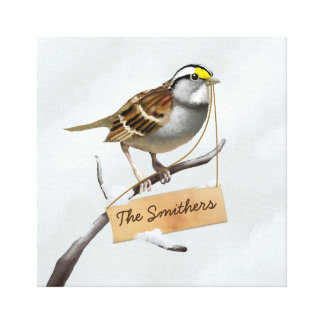 Sparrow Bird Customize Name Canvas Print