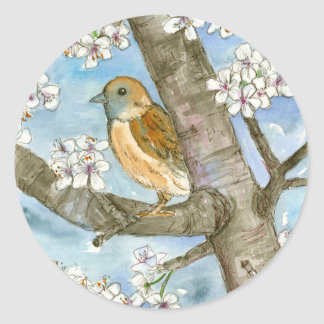 Sparrow Bird Flowering Tree Watercolor Painting Classic Round Sticker