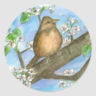 Sparrow Bird Fruit Tree Watercolor Wildlife Art Classic Round Sticker