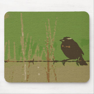 Sparrow bird green forest nature art mouse pad