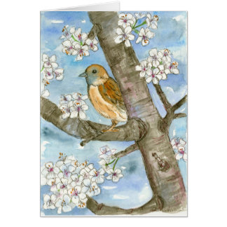 Sparrow Bird Spring Flowering Tree Happy Birthday Card
