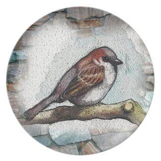 Sparrow: Bird, Watercolor, Stones, Rocks Dinner Plate