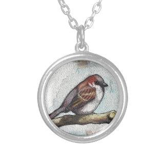 Sparrow: Bird, Watercolor, Stones, Rocks Custom Necklace