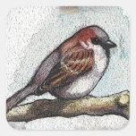 Sparrow: Bird, Watercolor, Stones, Rocks Square Sticker