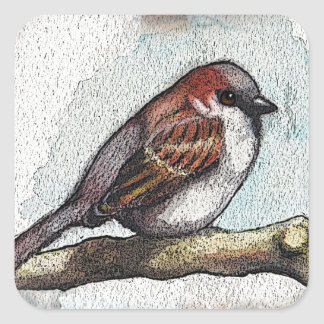 Sparrow: Bird, Watercolor, Stones, Rocks Square Sticker