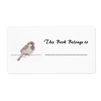 Sparrow Book Plate Label