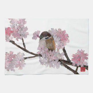 Sparrow, Cherry Blossoms Hand Towels