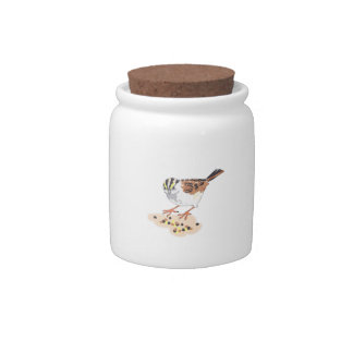 SPARROW EATING SEED CANDY JARS