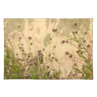 Sparrow & Flower Seedheads Placemat Cloth Placemat
