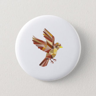 Sparrow Flying Low Polygon Pinback Button