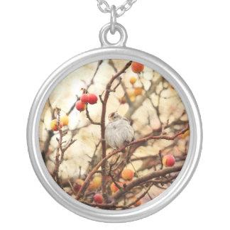 Sparrow in a Crab Apple Tree Necklace