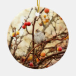 Sparrow in a Crab Apple Tree Christmas Tree Ornament
