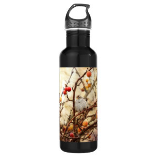Sparrow in a Crab Apple Tree Water Bottle