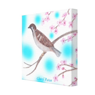 Sparrow in Cherry Blossom Tree Sky Wrapped Canvas